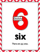 Number Posters 0 - 20 with Ten Frames - RED Chevron Theme