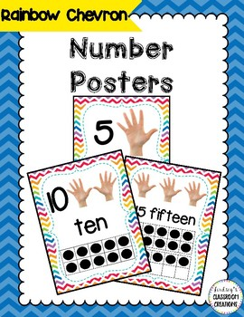 Number Posters with Ten Frames and Counting Hands- Chevron Theme Classroom