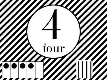 Number Posters with Ten Frames and Tally Marks in Black and White Theme