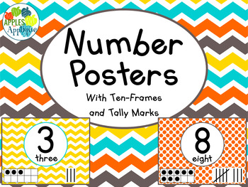 Number Posters with Ten Frames and Tally Marks in Candy Co