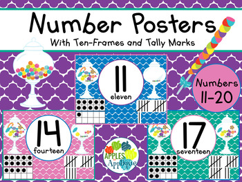 Number Posters with Ten Frames and Tally Marks in Candy Shop 11-20