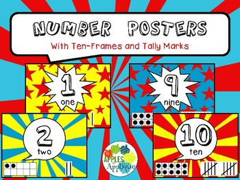 Number Posters with Ten Frames and Tally Marks in Comic Book Theme