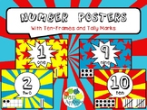 Number Posters with Ten Frames and Tally Marks in Comic Bo
