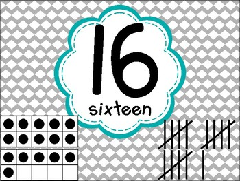 Number Posters with Ten Frames and Tally Marks in Yellow Teal and Gray 11-20