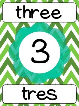 Number Posters with words in ENGLISH/SPANISH INGLES/ESPAÑOL