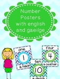 Number Posters with words in English and Irish - Gaeilge