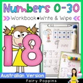 Number Practice Worksheets (0-30) - Australian font