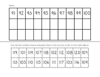 Number Practice 1-120 - Written & Cut & Paste (1.NBT.1)