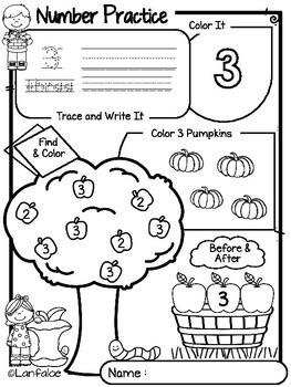 Number Practice 1-20 Autumn Edition