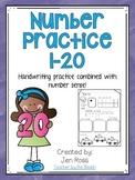 Number Practice 1-20 {Handwriting & Number Sense}