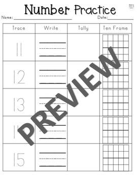 Number Practice 1-20: Trace it, Write it, Tally it, Ten Frames!