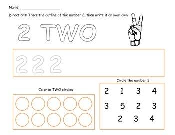 Number Practice 1-5 Pre-K Kindergarten