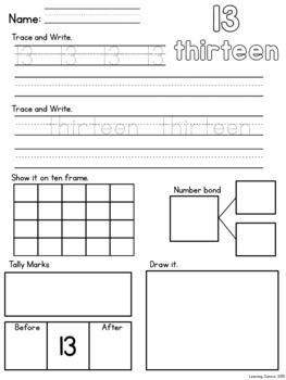 Number Sense Worksheets 1-20
