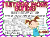 Number Practice BUNDLE 1-100 {trace it. write it. find it. use it. build it.}