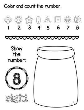 Number Practice! Button Themed Fun #'s 1 - 20!