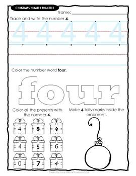 Number Practice CHRISTMAS Worksheets