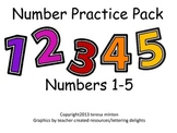Number Practice Pack for Kindergarten (1-5)