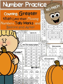 Number Practice Packet- 100's Chart, Before and After & Mu