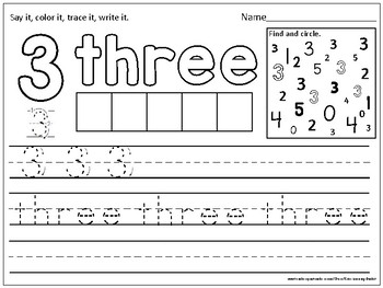 FLASH FREEBIE Number Practice Pages 1-10 (trace, write, color & find)
