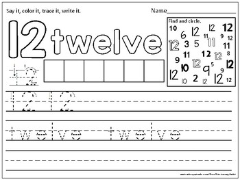 Number Practice Pages 11-20 (trace, write, color & find)