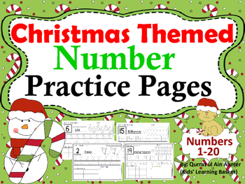 Number Practice Pages Christmas Themed (1- 20):