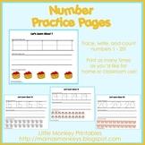 Number Practice Pages (Preschool)