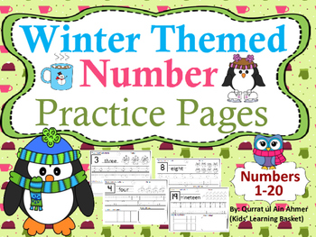 Number Practice Pages Winter Themed (1- 20):