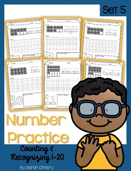 Number Practice Pages for Numbers 1-20: Set 5-Hidden Picture