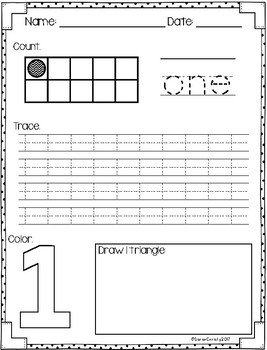Number Practice Pages for Numbers 1-20: Set 5-number writing