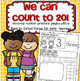 BACK TO SCHOOL Number Practice Printables - Recognition Tracing Counting 1-20