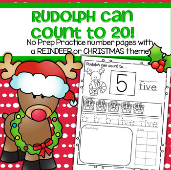 Christmas Reindeer Number Practice Printables Recognition Tracing Counting 1-20