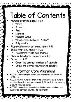 Number Practice Printables 1-20