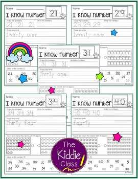 Number Practice Printables 21-40