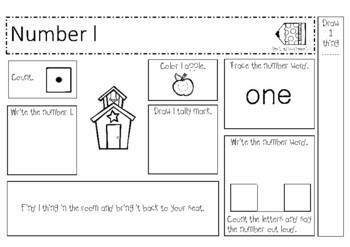 Number Practice Sheets 1 to 10