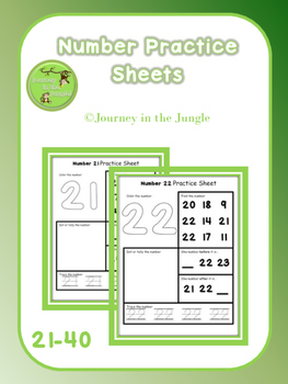 Number Practice Sheets 21-40