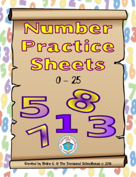 Number Practice Sheets for 0-25