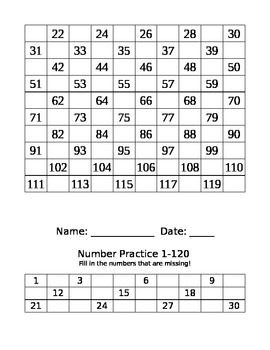 Number Practice Sheets...Writing numbers 1-120/ Number Sense