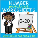 Number Practice Worksheets (0-20), Pre-k, Adapted for Autism