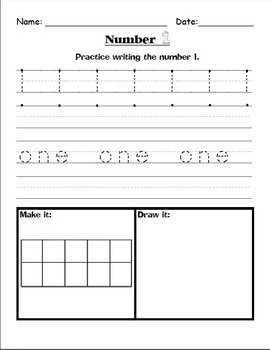 Number Practice Worksheets {1-10}