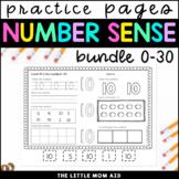 Number Practice Worksheets Bundle 0-30