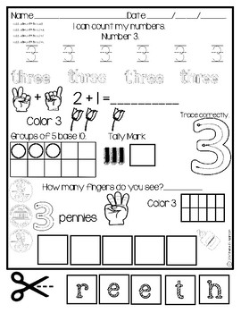 Number Practice from 1 to 10 in English