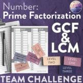 Prime Factorization, GCF & LCM (Number: TEAM CHALLENGE task cards)