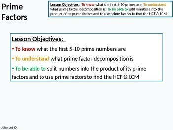 Number: Prime factor Trees / Decomposition (1 or 2 lessons) + Resources