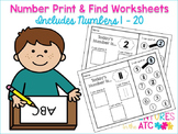 Number Print and Find Workheets