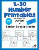 Number Printables for Students with Autism and Similar Spe