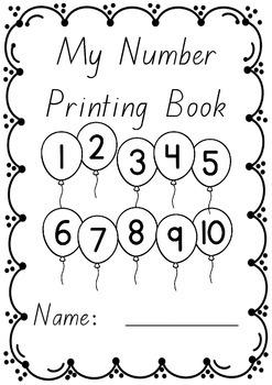 Number Printing Handwriting Book 1 – 10 in BEGINNERS font