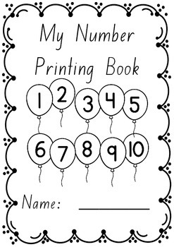 Number Printing Handwriting Book 1 – 10 in FOUNDATION font