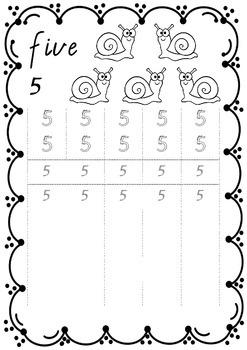 Number Printing Handwriting Book 1 – 10 in VICTORIAN MODERN CURSIVE  font