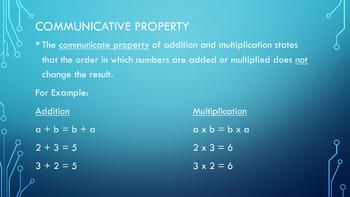 Number Properties- Communicative, Associative, Identity, Distributive with Key