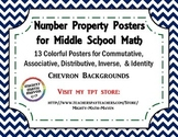 Number Properties Posters ~ Middle School Math ~ Chevron backgrounds